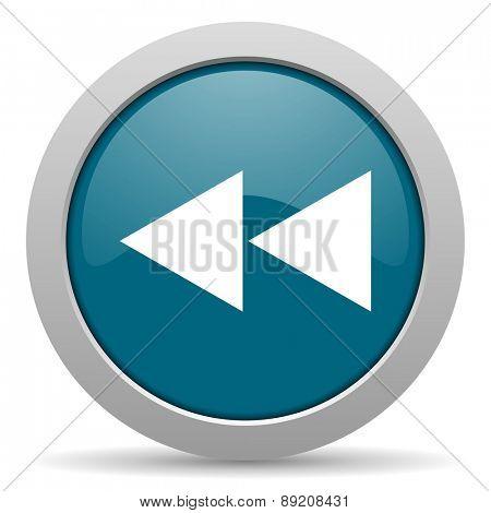 rewind blue glossy web icon