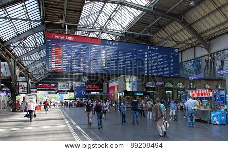 Departure Board Of The Zurich Main Railway Station