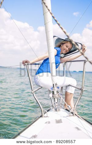 Sensual Caucasian Woman Sailing On Yacht Outdoors