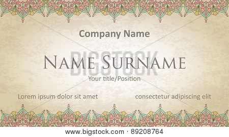 Visit Card Design On Old-style Colored Background With Gentle And Pleasant Colors. Design #1.
