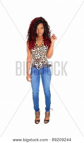 Slim Black Woman Standing.