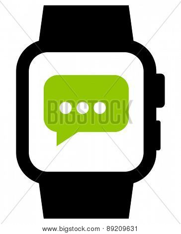 Messaging on smartwatch vector icon
