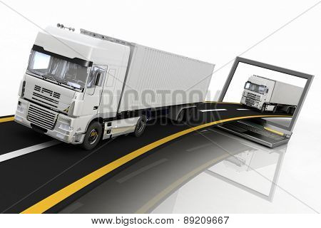 Trucks on freeway coming out of a laptop. 3d render illustration. Concept of logistics, delivery and transporting by freight motor transport.