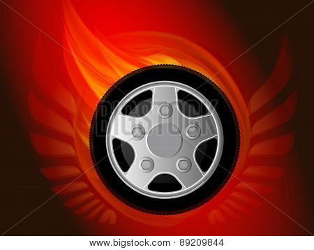 Blazing Wheel With Wings. Vector Illustration.