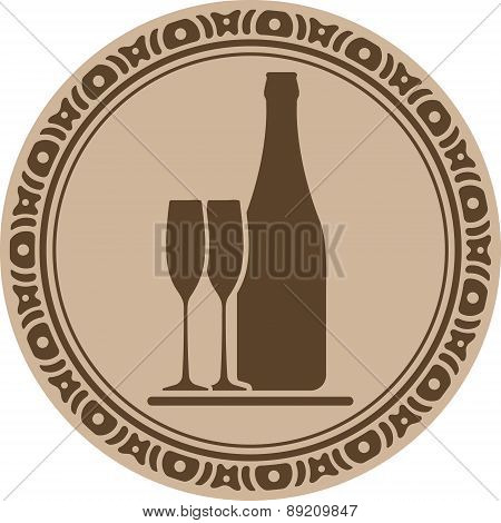 Buttle Of Wine And Pair Of Glasses Into Decorative Round Frame