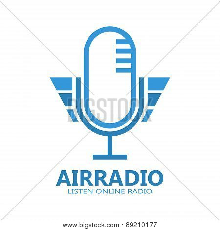 Microphone vector logo or symbol icon