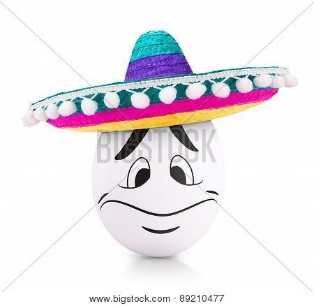 White Easter Egg in sombrero isolated on white