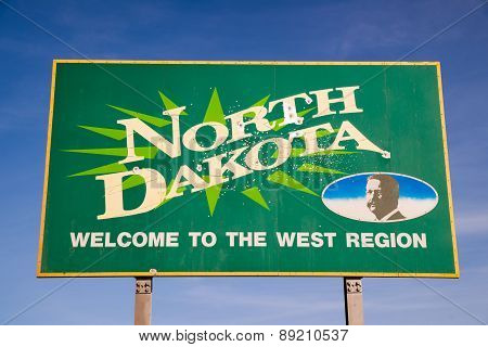 Welcom To North Dakota Highway Sign Bullet Holes