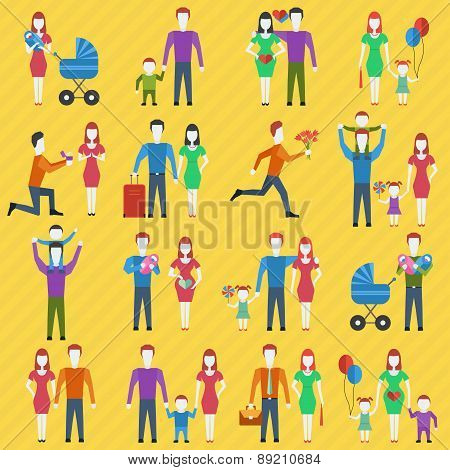 Family Stylized Vector Icons Set.