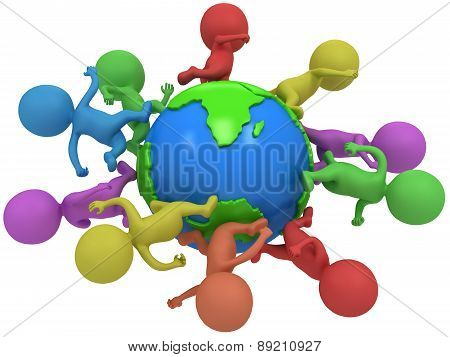 Small Colored People Running Around The World