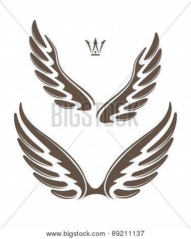 Two Pair Of Decorative Vector Wings With Crown