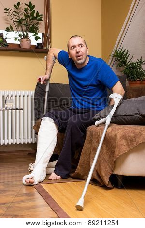 Difficulties With A Leg In Plaster