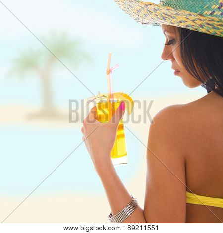 Girl on holiday vacation with cocktail