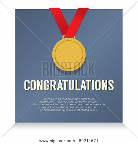 Golden Medal With Congratulations Card.