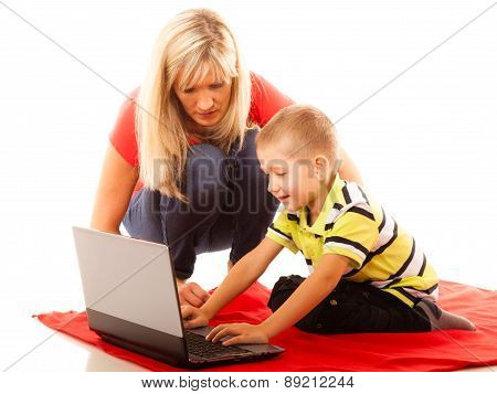 Technology And Parenting - Boy And Mother With Laptop