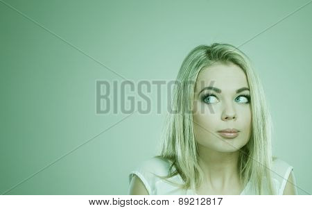 Shy Girl, Afraid Woman On Gray