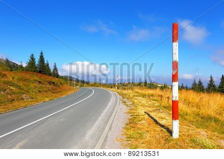 ?pen road in mountains. Balkans. Spine Kopaonik.