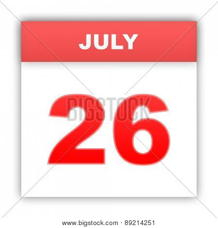 July 26. Day on the calendar. 3d