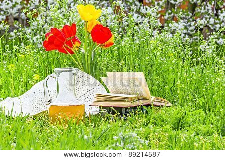 Bouquet Of Tulips, Book And White Hat