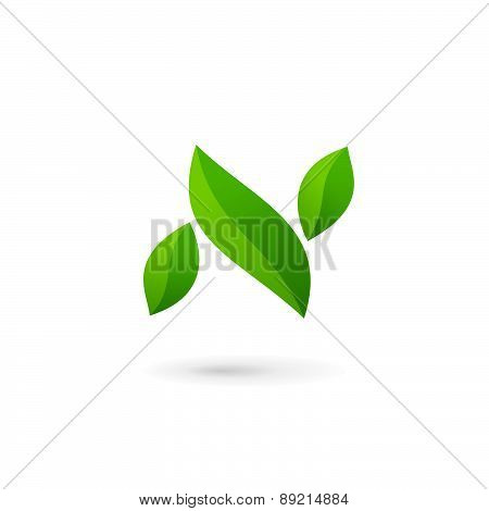 Letter N Eco Leaves Logo Icon Design Template Elements