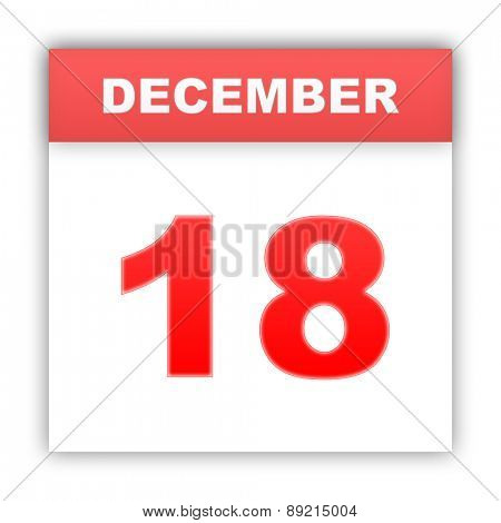 December 18. Day on the calendar. 3d