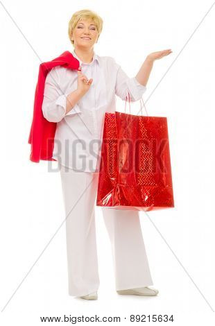 Senior woman with bag isolated
