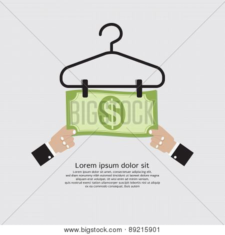 Bank Note Dry On Clothes Hanger Finance And Business Concept.