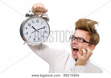 Funny doctor with alarm clock isolated on white