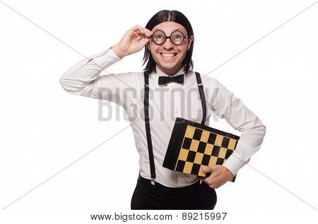 Funny young man with chessboard isolated on white