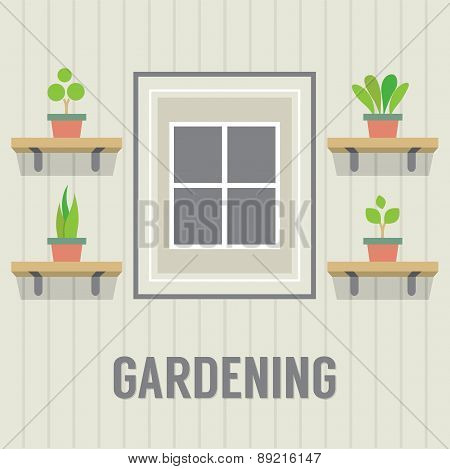 Pot Plants Beside Window Gardening Concept.
