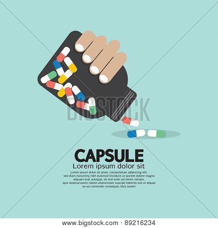 Medicine Capsules Bottle In Hand.