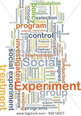 Background concept wordcloud illustration of social experiment