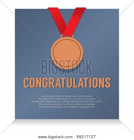 Bronze Medal With Congratulations Card.