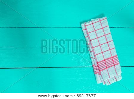 Kitchen Towel Red On Turquoise Wooden Background