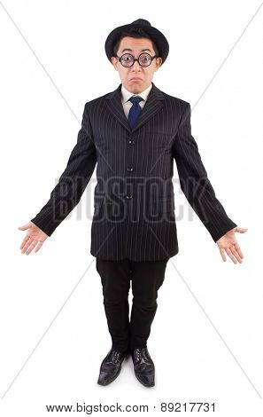 Funny gentleman in striped suit isolated on white