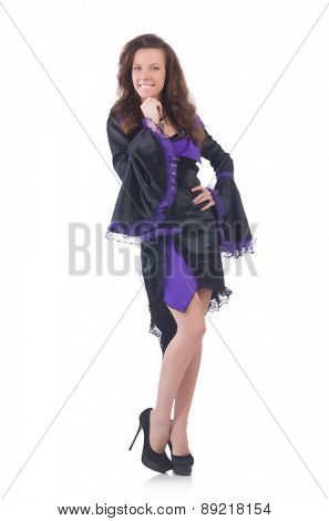 Girl wearing violet and black dress isolated on white