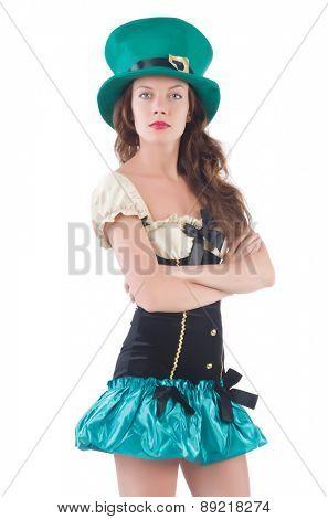 Female model in Irish costume isolated on white