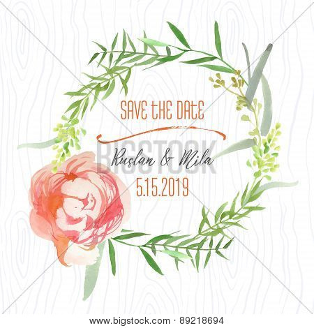 Watercolor Wreath in Save the Date Card