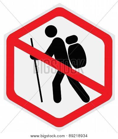 no hiking sign