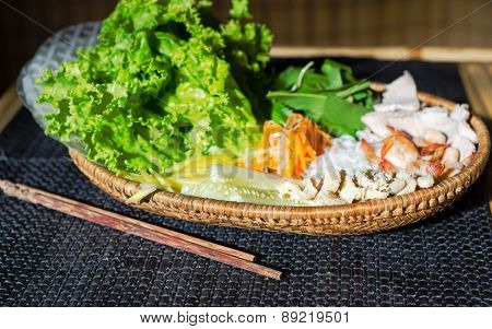 Straw Plate With Ingredients For Vietnamese Spring Rolls