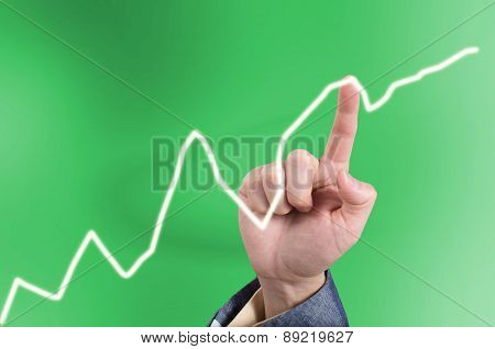Hand Of Asian Business Man Pointing A Line Graph On A Virtual Touch Screen