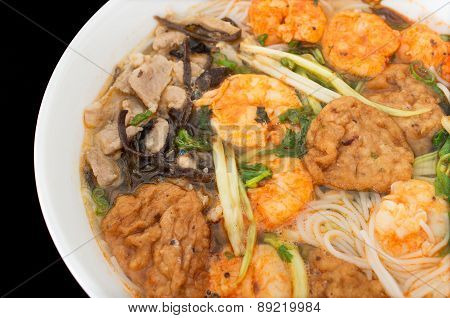 Bun Tom Hai Phong, Vietnamese Shrimp And Fish Balls Soup Against Black Background