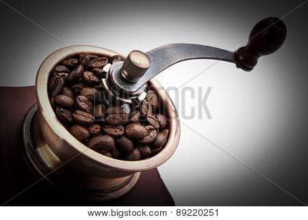 Fresh Coffee Bean And Coffee Bean Grinder Closeup