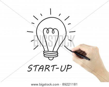 Start-up Word Written By Man's Hand