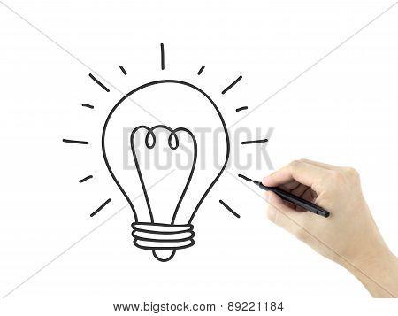 Light Bulb Drawn By Man's Hand