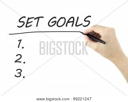 Set Goals Words Written By Man's Hand