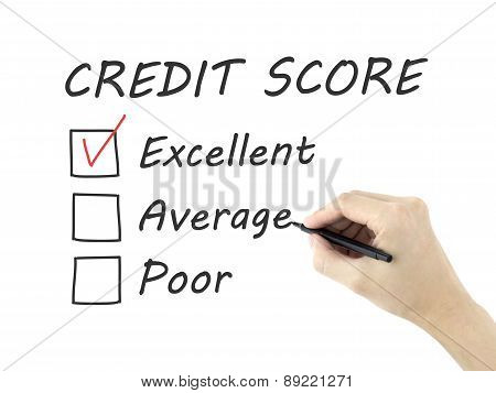 Credit Score Survey Written By Man's Hand