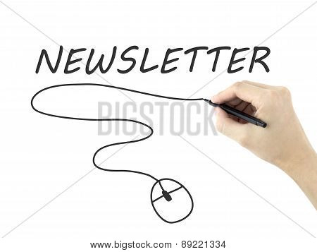 Newsletter Word Written By Man's Hand