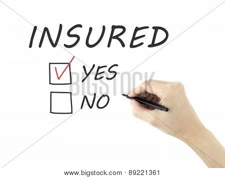 Yes Insured Words Written By Man's Hand
