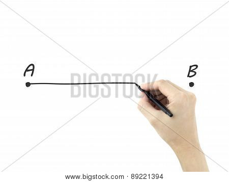 Point A To B Drawn By Man's Hand